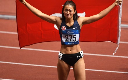 Olympic hurdles hopeful Vera Lui after becoming the first female athlete to win a track and field medal for Hong Kong at the Asian Games in 2018. Photo: Xinhua