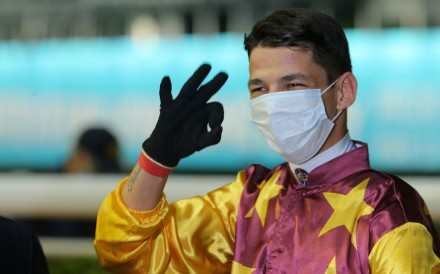 Vagner Borges celebrates his maiden Hong Kong win on Wednesday night. Photos: Kenneth Chan