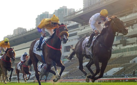 Golden Sixty surges home to win the Hong Kong Derby. Photos: Kenneth Chan