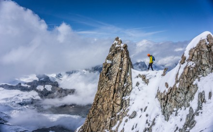 Kilian Jornet climbs Dent Blanche in 2015. Now you can follow his journey for free. Photo: Handout