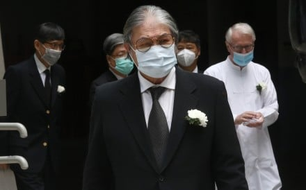 Hong Kong Olympic chief Timonty Fok Tsun-ting arrives for the funeral of his predecessor Arnaldo de Oliveira Sales. Photo: Jonathan Wong