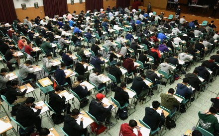 Students take their first Diploma of Secondary Education (DSE) exams at the Cheung Sha Wan Catholic Secondary School, Cheung Sha Wan, last year. Photo: Pool