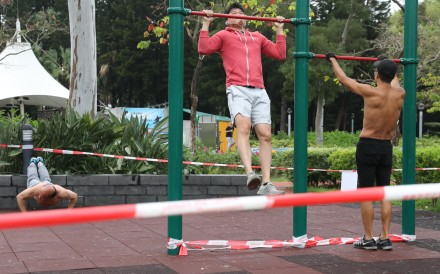 Working out in Hong Kong's Victoria Park. Photo: Dickson Lee