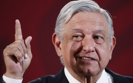 Mexican President Andres Manuel Lopez Obrador speaks during his morning press conference at the National Palace in Mexico City on Monday. Photo: EPA-EFE