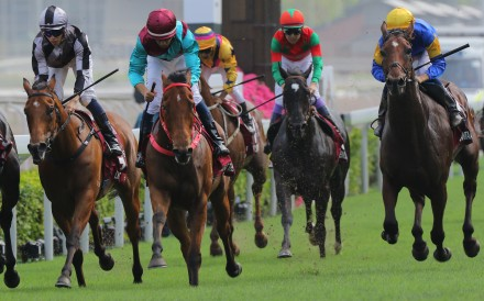 Santa Ana Lane (right) finishes fourth in last year's Chairman's Sprint Prize at Sha Tin. Photos: Kenneth Chan