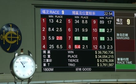 Odds flicker through on the big screen at Happy Valley. Photos: Kenneth Chan