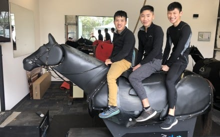 Hong Kong apprentice jockeys Kenny Lau Wang, Gary Lo King-yeung and Jerry Chau Chun-lok train in Adelaide. Photo: Sam Agars