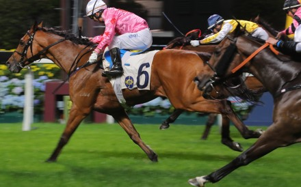 Matthew Chadwick drives Good Shot to victory at Happy Valley on Wednesday night. Photos: Kenneth Chan