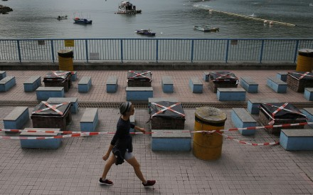 Barbecue pits remain closed at a beach on April 8, to deter social gathering and help curb the spread of the coronavirus in Hong Kong. Photo: AP