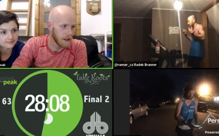 Radek Brunner (top right) is called live on Zoom and told he is disqualified after 62 hours of running. Photo: Personal Peak
