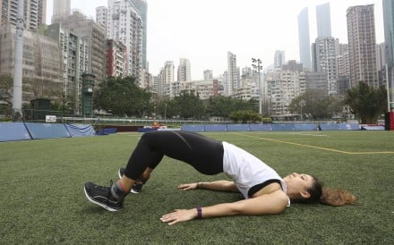 Hamstring bridges are a great exercise to help the feeling of tightness. If you cannot do them on a Swiss ball or bench, try on the ground. Photo: Jonathan Wong