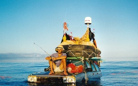 Marco Amoretti and Marcolino De Candia were busy everyday of the expedition, but down time was spent fishing, as they floated cars across the Atlantic. Photos: Autonauti