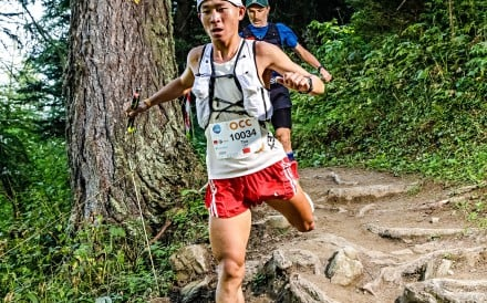 Luo Tao, third at the OCC, UTMB, impresses spectators with his incredible downhill speed. Photo: UTMB