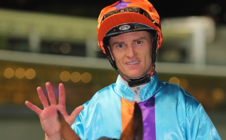 Zac Purton celebrates his five-timer at Happy Valley on Wednesday night. Photos: Kenneth Chan