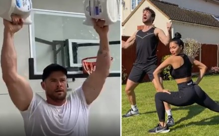 Looking for home workouts? Follow celebrities Chris Hemsworth, Nicole Scherzinger, Thom Evans, Mark Wahlberg, and Molly Sims for no or minimal equipment workouts. Photos: Instagram