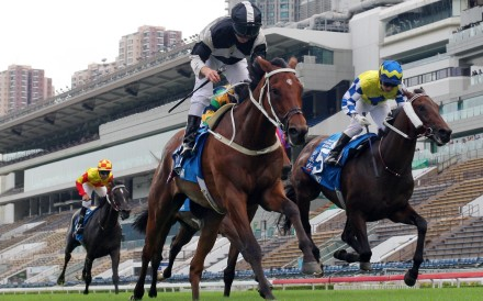 Exultant wins the Group One Standard Chartered Champions & Chater Cup. Photos: Kenneth Chan