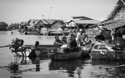 About 100,000 people live on or around Tonlé Sap, the poorest in floating communities. The Lake Clinic – Cambodia's founder, Jon Morgan, says there are at least 50 such communities on the lake. Most eke out a subsistence living through fishing. The average income for a family is about 10,000 riel (US$2) a day. Photo: Gary Jones