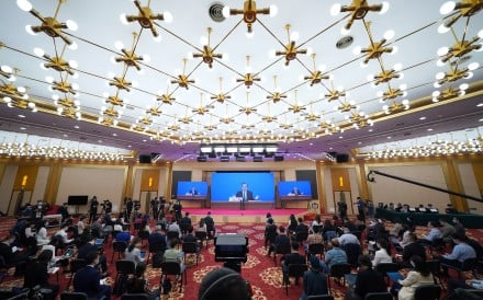 Simultaneous translation, in languages including English and French, is offered for a press conference given by Chinese Foreign Minister Wang Yi via video link in Beijing on May 24. Photo: Xinhua