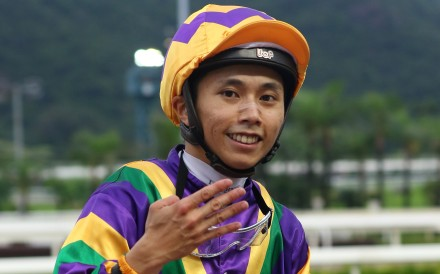 Mathew Poon celebrates his four-timer after saluting on Perfect Match. Photo: Kenneth Chan