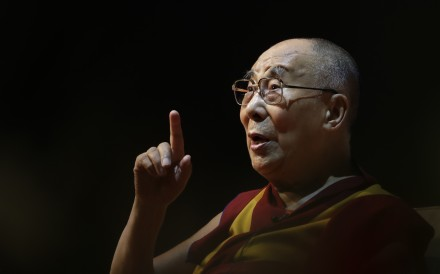 """The Dalai Lama speaks on """"the art of happiness"""" at a public event in New Delhi, India, in August 2017. The Tibetan spiritual leader will release an album of his teachings and mantras set over music in July. Photo: AP"""