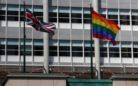 A rainbow flag flies in support of the LGBT community at the British Embassy in Moscow. Photo: Reuters