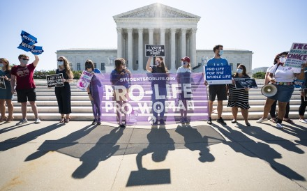 Anti-abortion protesters gather outside the US Supreme Court on Monday. Photo: EPA-EFE