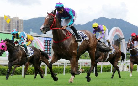 Winning Dreamer pulls away to salute at Sha Tin on Wednesday. Photos: Kenneth Chan