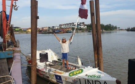 Karlis Bardelis is tantalisingly close but is not allowed to step off his boat just yet. Photo: Bored of Borders