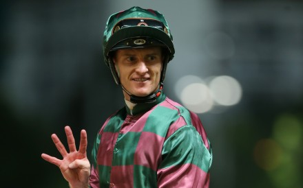 Zac Purton celebrates his four-timer at the last Happy Valley meeting. Photos: Kenneth Chan