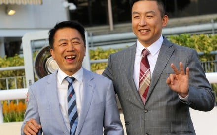 Ricky Yiu (left) with son Eric after training a winner at Sha Tin. Photos: Kenneth Chan