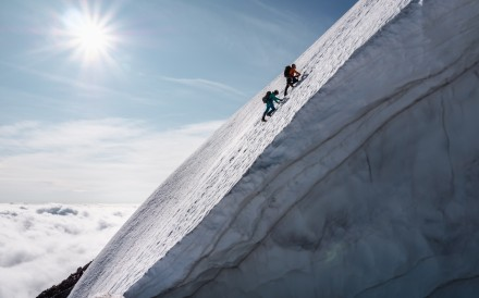 Mike and Chantal Schauch climbing in Canada. A climbing trip to the Himalayas changed their lives. Photo: James Frystak