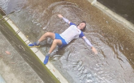 Steve Pheby tries to cool down as he runs 100 miles in Hong Kong's summer. Photos: Handout