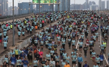 Runners on the Island Eastern Corridor during the 10k race at the 2019 Hong Kong Marathon. Photo: Felix Wong