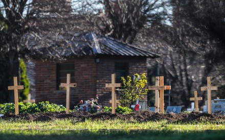 Crosses stand over the graves of Covid-19 victims in the Flores Cemetery in Buenos Aires, Argentina on Saturday. Photo: EPA-EFE