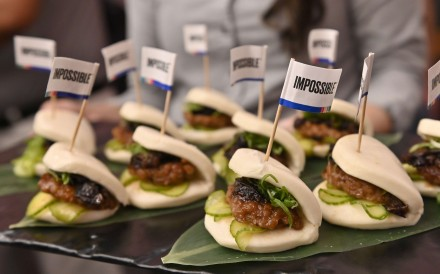 Impossible pork char siu buns are sampled during an Impossible Foods press event at the CES trade show in Las Vegas, Nevada, on January 6. Photo: Agence France-Presse
