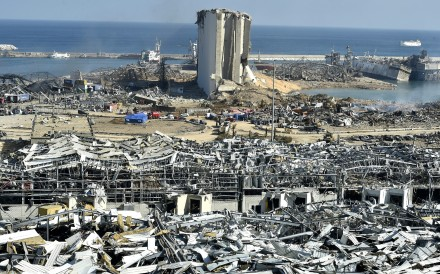 A general view of the destroyed port in the aftermath of a massive explosion as search and rescue works for victims continued, in downtown Beirut, Lebanon. Photo: EPA