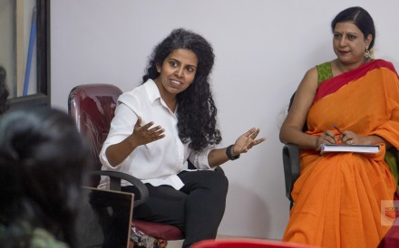 Hidden-Pockets founder Jasmine George (centre) talks with policymakers in India in 2019. Photo: Hidden-Pockets