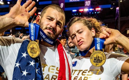 Mat Fraser and Tia-Clair Toomey, winners of multiple CrossFit Games, pose after their latest victory in 2019. Photo: Facebook