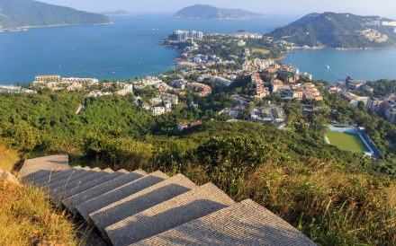 Aerial view of Stanley, Hong Kong on the trail of the twins on Wilson Trail. Photo: Shutterstock
