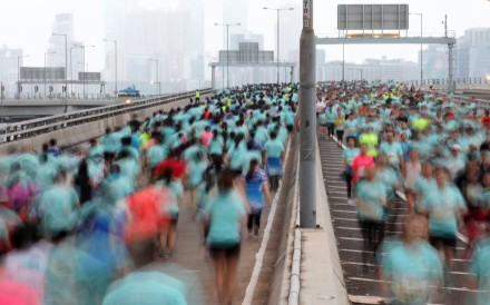 Thousands of 10k runners on the Eastern Island Corridor during the 2019 Hong Kong Marathon. Photo: Felix Wong