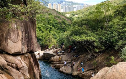 One of Saturday's injured hikers fell in Ma Dai Stream in Ma On Shan. Photo: Facebook