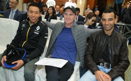 Vincent Ho, Zac Purton and Joao Moreira wait for the draw at the International Jockeys' Championship last year. Photos: Kenneth Chan