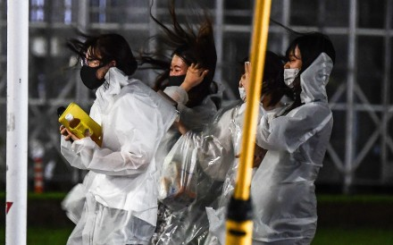 Haishen was located about 100km south-southwest of Makurazaki city, packing gusts up to 216km/h. Photo: AFP