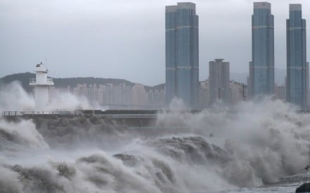High waves are seen in Busan, South Korea, as Typhoon Haishen hits the Korean peninsula after battering Japan. Photo: Reuters