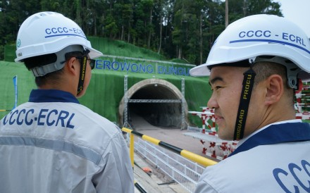 Workers from the China Communications Constructions Company at the construction site of the East Coast Rail Link project in Malaysia. Photo: AFP