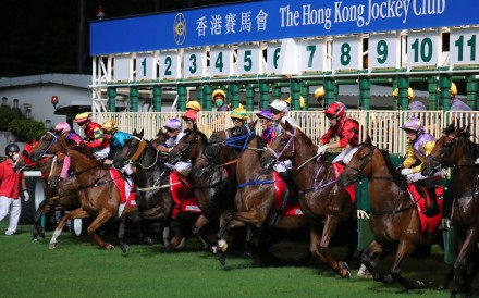 Horses jump for the sixth race at Happy Valley on Wednesday night. Photos: Kenneth Chan