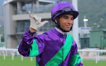 Joao Moreira celebrates his six-timer after winning aboard Excellent Proposal. Photos: Kenneth Chan
