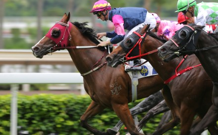 Zac Purton drives Thanks Forever to victory in the Group Three Sha Tin Vase. Photos: Kenneth Chan