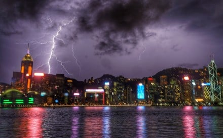 Lightning lashes Hong Kong in September. Photo: Felix Wong