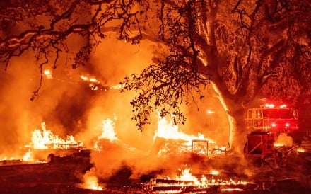 The Glass fire continues to burn in Calistoga, California. Photo: AFP